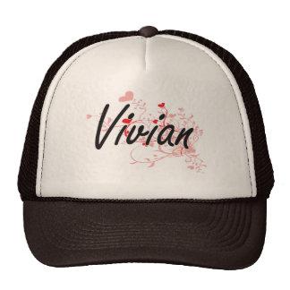 Vivian Artistic Name Design with Hearts Cap