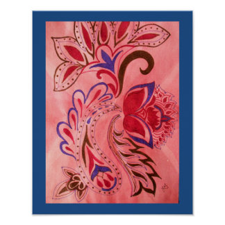 Vivid abstract paisley mixed media poster