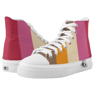 Vivid and Retro Stripes Print Printed Shoes