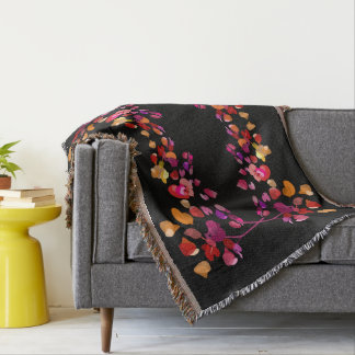 Vivid Autumn Colors Stylized Floral Pattern Throw Blanket