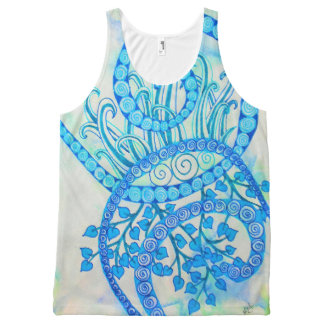 Vivid blue abstract spirals and plants All-Over print tank top