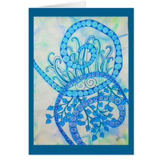 Vivid blue abstract spirals and plants card