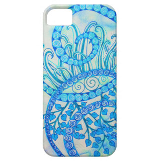 Vivid blue abstract spirals and plants iPhone 5 cover