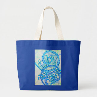 Vivid blue abstract spirals and plants jumbo tote bag