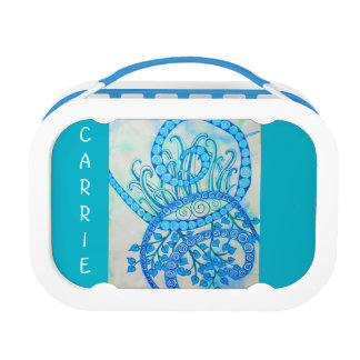 Vivid blue abstract spirals and plants lunchboxes