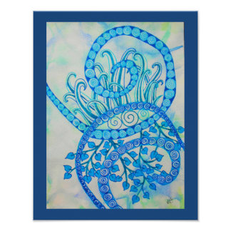 Vivid blue abstract spirals and plants poster