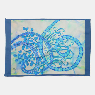 Vivid blue abstract spirals and plants kitchen towels