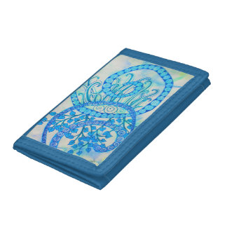 Vivid blue abstract spirals and plants trifold wallet
