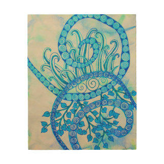 Vivid blue abstract spirals and plants wood prints
