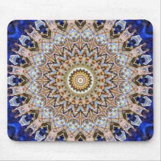 Vivid Blue and Brown Mandala Art Designer Mouse Pad