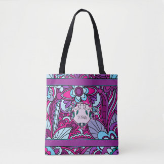 Vivid Blue and Purple, Boho Tote Bag