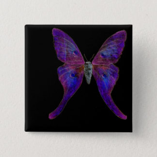 Vivid blue butterfly wearable art 15 cm square badge