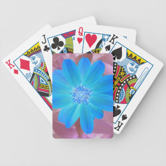 Vivid blue flower design poker deck