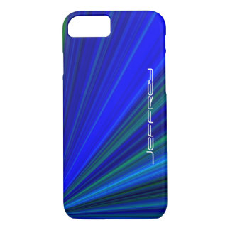 Vivid Blue & Green Starburst, Personalized Name iPhone 7 Case