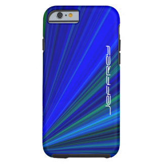 Vivid Blue & Green Starburst, Personalized Name Tough iPhone 6 Case