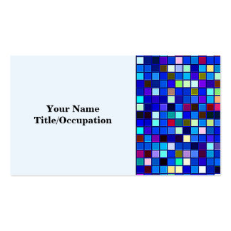 Vivid Blue Multicolored Square Tiles Pattern Business Card Template