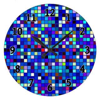Vivid Blue Multicolored Square Tiles Pattern Clock
