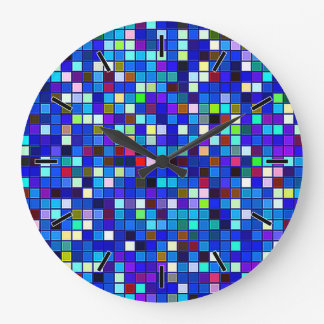 Vivid Blue Multicolored Square Tiles Pattern Clocks