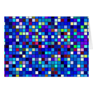 Vivid Blue Multicolored Square Tiles Pattern Greeting Card