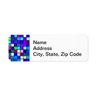 Vivid Blue Multicolored Square Tiles Pattern Return Address Label