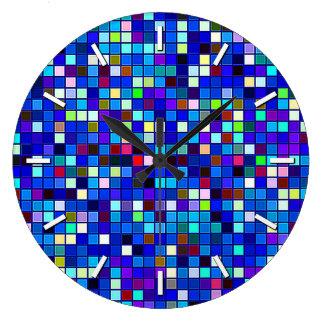 Vivid Blue Multicolored Square Tiles Pattern Wall Clock