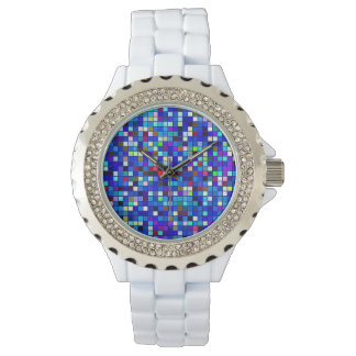 Vivid Blue Multicolored Square Tiles Pattern Wristwatches