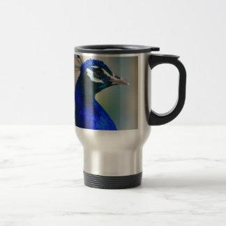 vivid blue peacock stainless steel travel mug