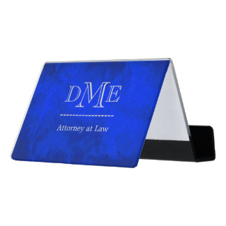 Vivid Blue Professional Monogram Desk Business Card Holder