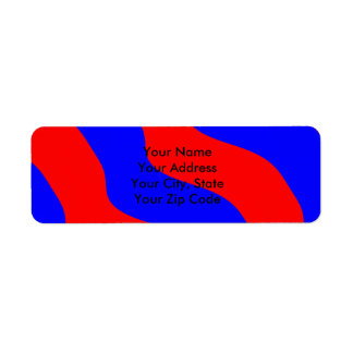 Vivid Bold Waves of Red and Blue Stripes Return Address Label