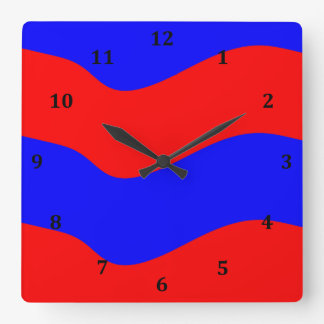 Vivid Bold Waves of Red and Blue Stripes Wall Clock