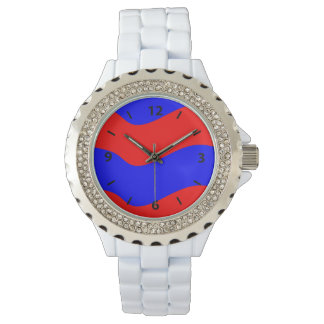 Vivid Bold Waves of Red and Blue Stripes Wrist Watches