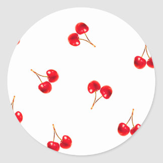 Vivid Cherry Pattern Round Sticker