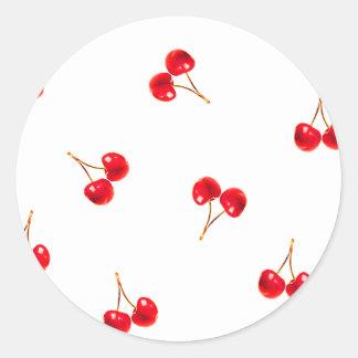 Vivid Cherry Pattern Round Sticker