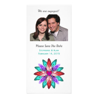 Vivid Colorful Feathers Engagement Customised Photo Card