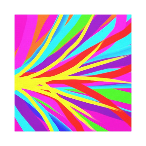 Vivid Colorful Paint Brush Strokes Girly Art Stretched Canvas Print