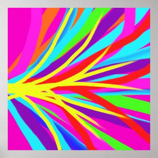 Vivid Colorful Paint Brush Strokes Girly Art Poster