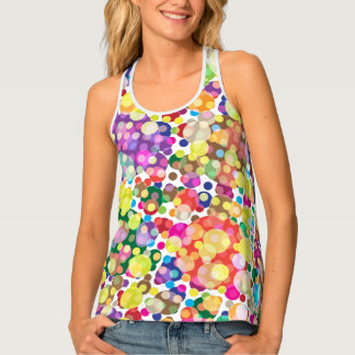 Vivid Colors,Abstract Circle Design Razorback Tank