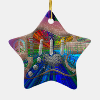 Vivid Colors Peace Guitar - Star Christmas Ornament