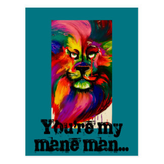 Vivid colour lion postcard painted with tattoo ink