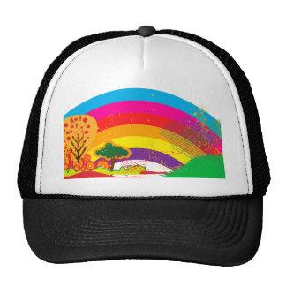 Vivid colourful rainbow landscape mesh hat