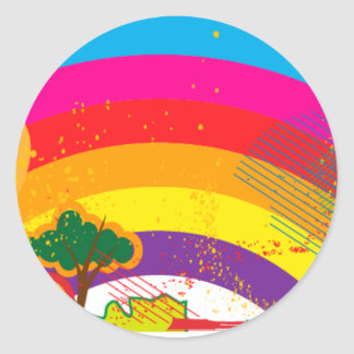 Vivid colourful rainbow landscape round sticker