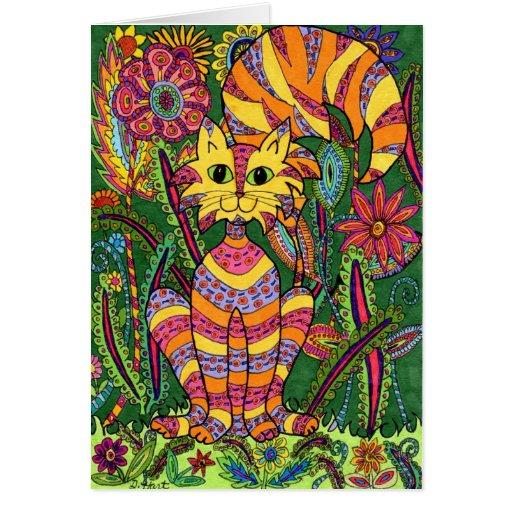 Vivid Garden Cat 2 Greeting Card