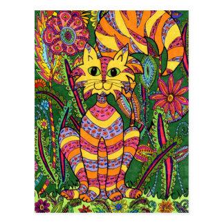 Vivid Garden Cat 2 Postcard
