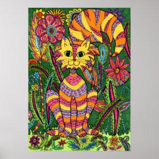 Vivid Garden Cat 2 Poster