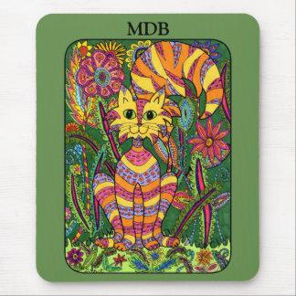 Vivid Garden Cat Green Folk Art Custom Monogram Mouse Mat