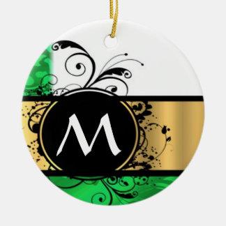 Vivid green and gold monogram christmas ornament