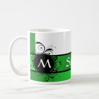 Vivid green and white monogram basic white mug
