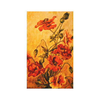Vivid Late Victorian 1890 Oil Painting of Poppies Canvas Print