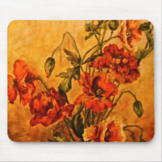 Vivid Late Victorian 1890 Oil Painting of Poppies Mouse Pad