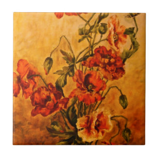 Vivid Late Victorian 1890 Oil Painting of Poppies Tile